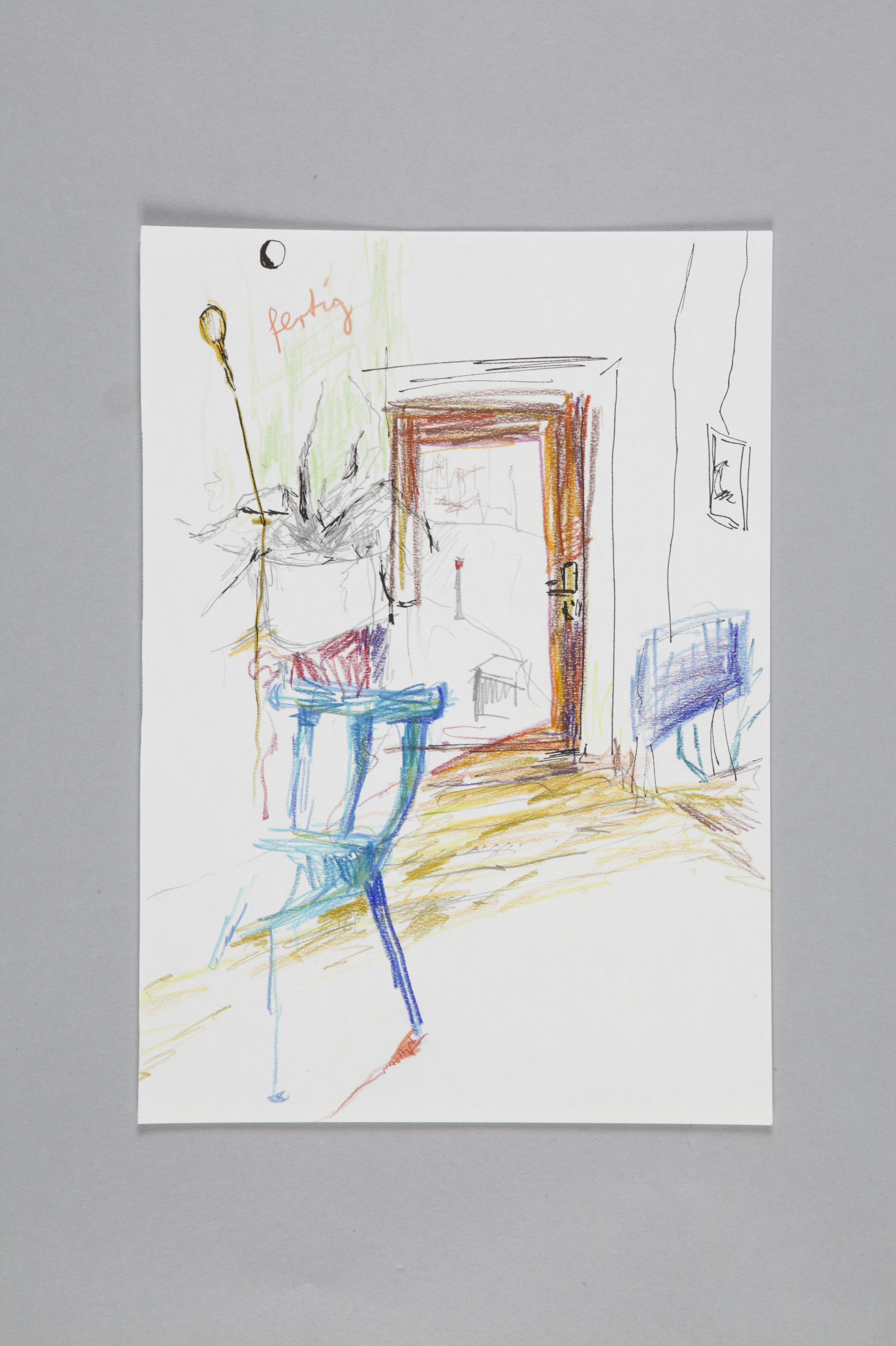 Color pencils and fineliner on paper | Café I | 30×20 | 2017_Jule Sonnentag
